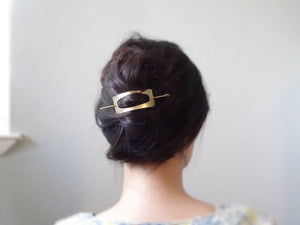 Gold Hair Slide, Brass Hair Cuff.