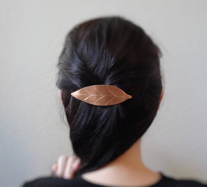 Leaf Barrette, Fall Leaf Copper Hair Clip