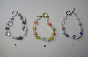 Multi Colors Beaded link bracelet, Gemstone Jewelry Gift For Her.