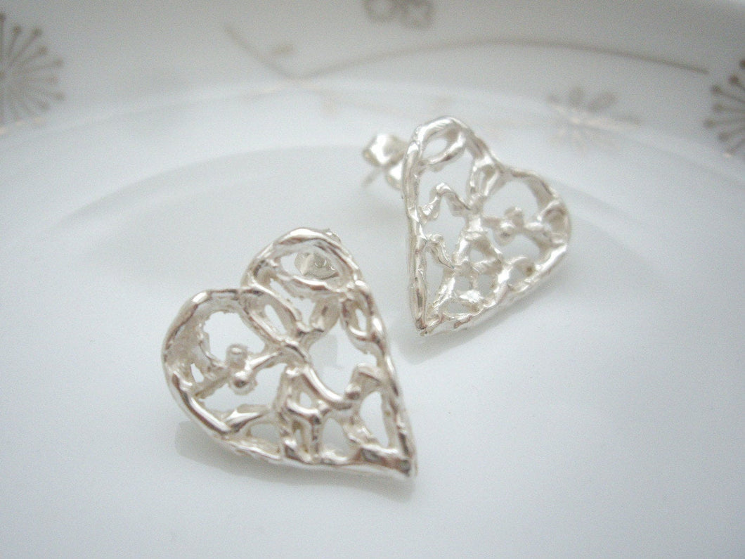 Silver heart earrings, Filigree heart jewelry, Statement post earrings, Anniversary gift