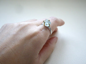 Raw Aquamarine Solitaire Stone Four Prong Setting Ring.