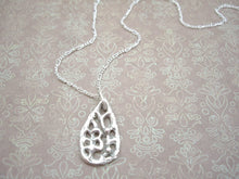 Load image into Gallery viewer, Teardrop Filigree Silver Necklace, Lacy Look Froral Drop Pendant