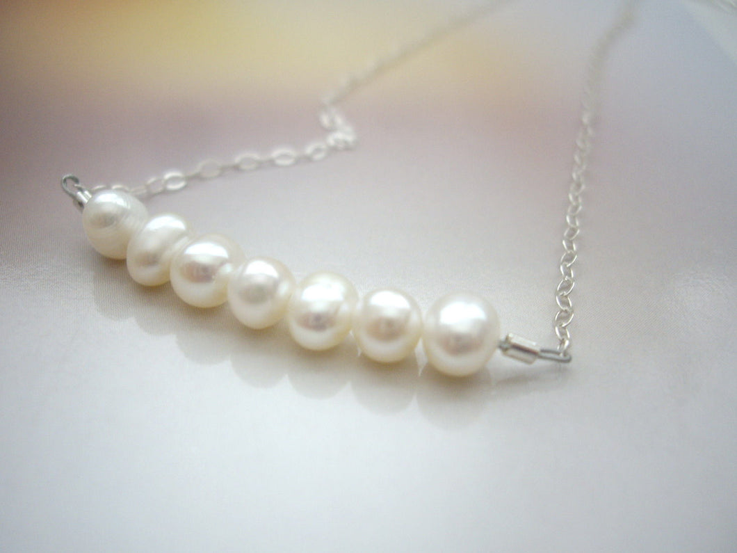 Fresh Water Pearl Bar Necklace, Minimal Pearl Jewelry.