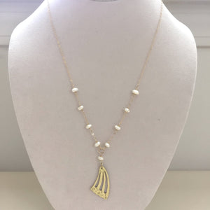 Gold Butterfly Wing Necklace with Pearl