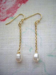 Simple chain earrings with pearl, Gold pearl earrings, Gift under 20.