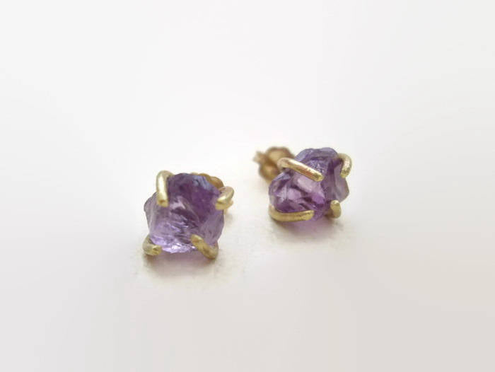 Raw Amethyst Stud Earrings, Natural Stone Jewelry.