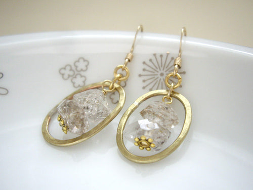 Herkimer Diamond and Gold Loop Earrings, Raw Stone Jewelry.