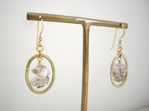 Herkimer Diamond and Gold Loop Earrings, Raw Stone Jewelry