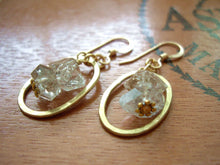 Load image into Gallery viewer, Herkimer Diamond and Gold Loop Earrings, Raw Stone Jewelry.