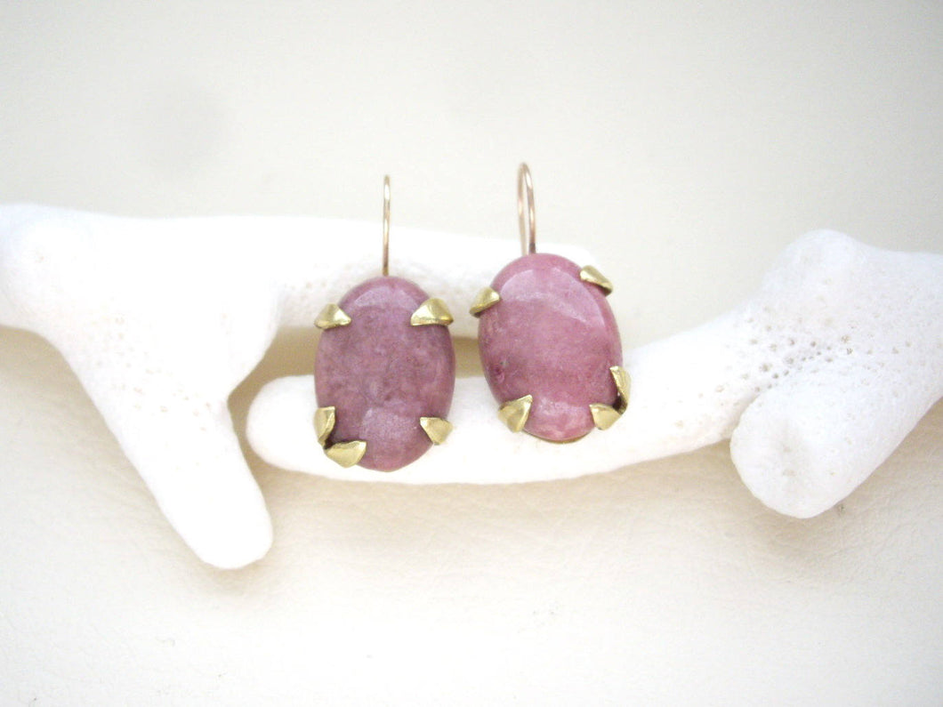 Rhodochrosite Pink Botanical Earrings, Mixed Metal Artisan Jewelry.