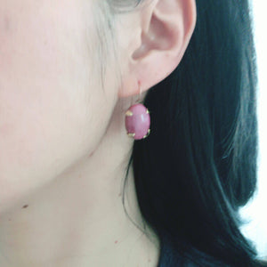 Rhodochrosite Hand Forged Earrings, Mixed Metal Artisan Jewelry