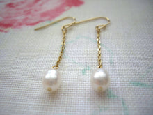 Load image into Gallery viewer, Simple chain earrings with pearl, Gold pearl earrings, Gift under 20.