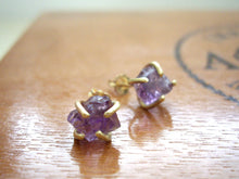Load image into Gallery viewer, Raw Amethyst Stud Earrings, Natural Stone Jewelry.