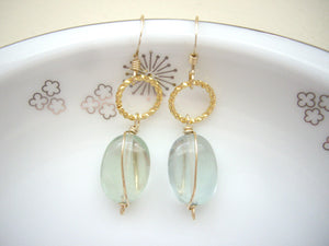 Fluorite Wire Wrapped Earrings, Green Transparent Dangle Earrings.