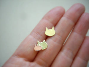 Tiny Cat Studs, Mom And Baby Cat, New Mama Gift, Feline Earrings
