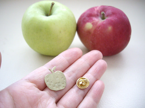 Apple Pin Brooch, For Shawl, Scarf, Hat, Teacher's Gift.