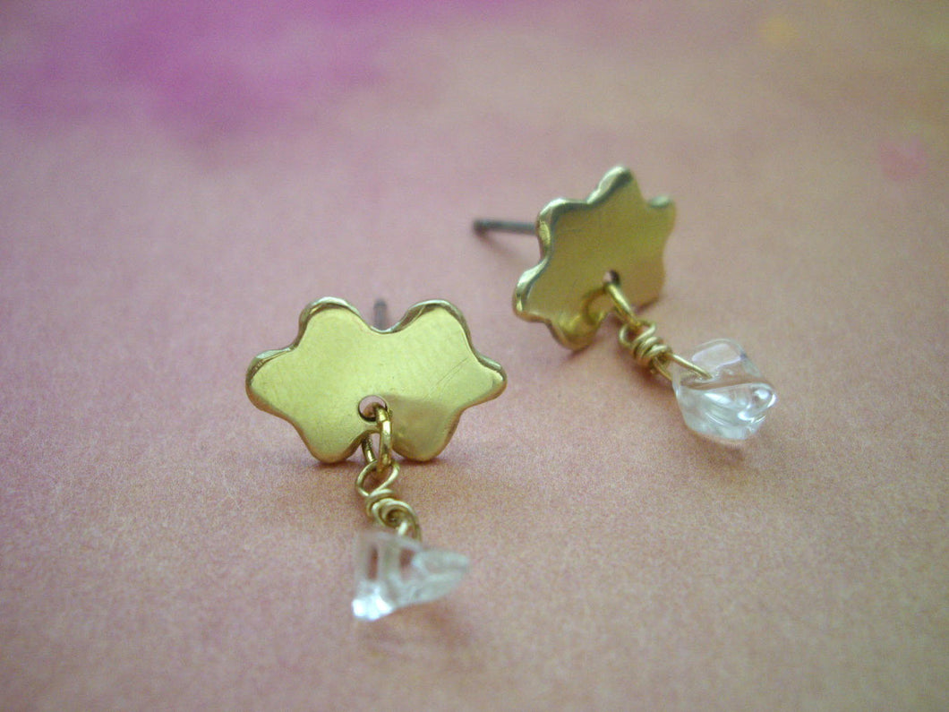 Rain Cloud Earrings With Rain Drops Of Quartz.