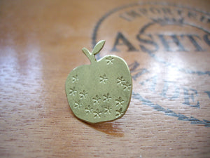 Apple Pin Brooch, For Shawl, Scarf, Hat, Brass Brooch, Teacher's Gift