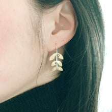 Load image into Gallery viewer, Gold Leaf Mistletoe Earrings, Woodland Jewelry