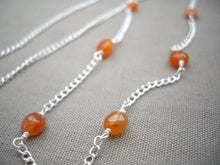 Load image into Gallery viewer, Orange and Silver Eyeglasses Holder Necklace.