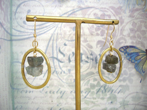 Labradorite gold loop earrings, Raw labradorite jewelry.