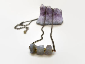 Raw Stone Bar Necklace, Labradorite, Herkimer Diamond, Rough Crystal Necklace