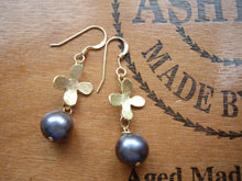 Load image into Gallery viewer, Peacock Pearl Flower Earrings, Black Pearl Refined Handcrafted Jewelry