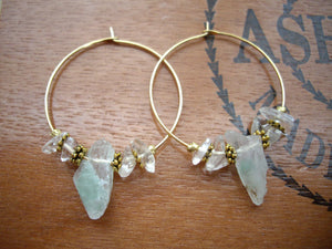 Green Quartz Gold Hoop Earrings, Raw Stone Jewelry.