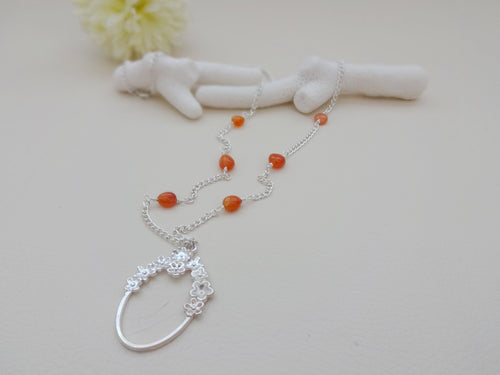 Orange and Silver Eyeglasses Holder Necklace