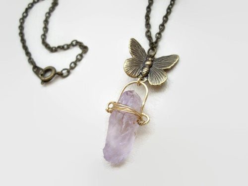 Amethyst Crystal Point Pendant With Butterfly Charm.