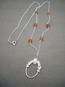 Orange and Silver Eyeglasses Holder Necklace.