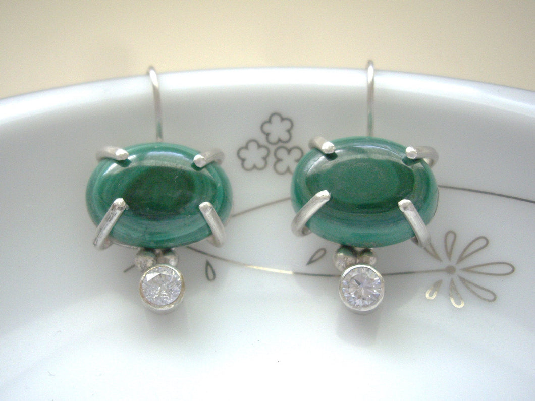 Green Malachite Prong Setting Earrings,  Modern Retro Artisan Jewelry
