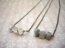 Load image into Gallery viewer, Raw Stone Bar Necklace, Labradorite, Herkimer Diamond, Rough Crystal Necklace