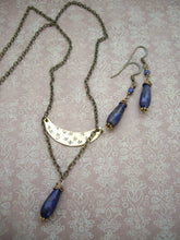 Load image into Gallery viewer, Lapis Lazuli Crescent Moon Necklace, Mixed Metal Rustic Jewelry, Boho-chic Gift.