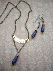 Lapis Lazuli Crescent Moon Necklace, Mixed Metal Rustic Jewelry, Boho-chic Gift