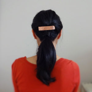 Flower Stamped, Copper Hair Barrette, Rectangle Metal Hair Clip