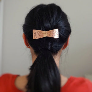 Copper Bow Barrette, Rustic Hair Jewelry.