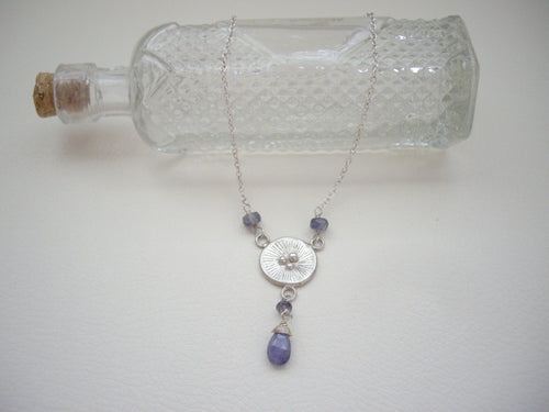 Poppy Tanzanite Necklace, December Birthstone Gift, Circle Sterling Silver Pendant.