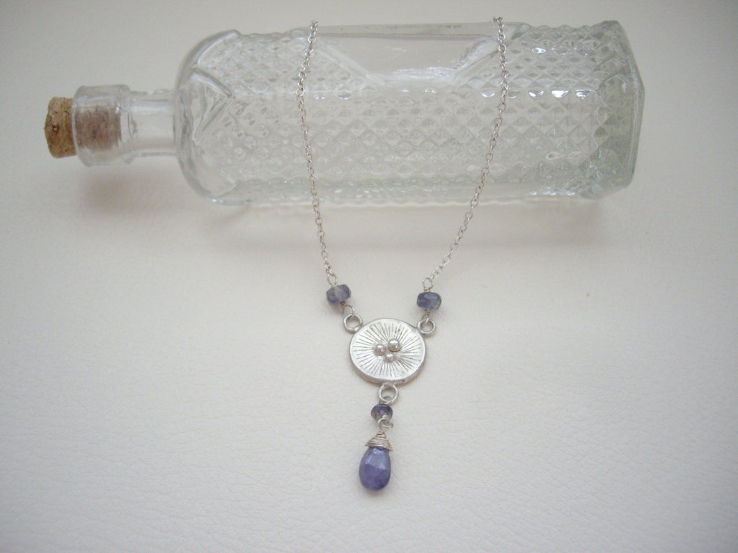 Poppy Tanzanite Necklace, December Birthstone Gift, Circle Sterling Silver Pendant