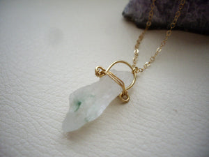 Raw Quartz Gold Chain Necklace, Green Quartz, Organic Jewelry