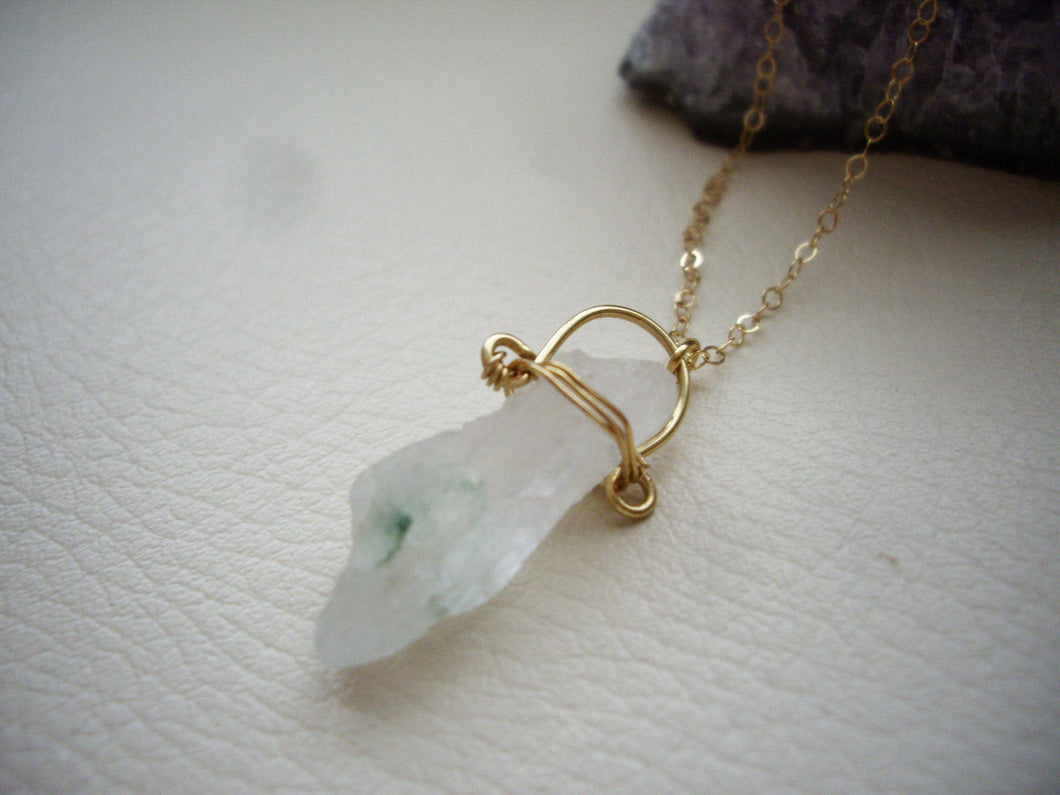 Raw Quartz Gold Chain Necklace, Green Quartz, Organic Jewelry.