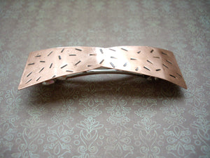 Metal Bow Barrette, Copper Hair Barrette, Rustic Hair Jewelry