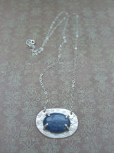 Load image into Gallery viewer, Blue Kyanite Hammered Silver Necklace, Mystic Blue Pendant.