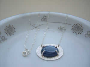 Blue Kyanite Hammered Silver Necklace, Mystic Blue Pendant.