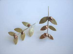 Gold Leaf Mistletoe Earrings, Woodland Jewelry