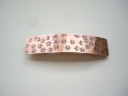 Flower Stamped, Copper Hair Barrette, Rectangle Metal Hair Clip.