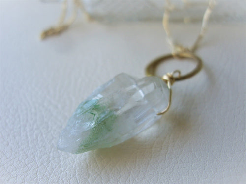 Rough Quartz Long Necklace, Crystal Point, Green Quartz Pendant, Gold Chain Neckalce
