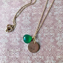 Load image into Gallery viewer, Lotus Flower Hand Stamped Necklace, Disk Pendant, Choose Your Stone.