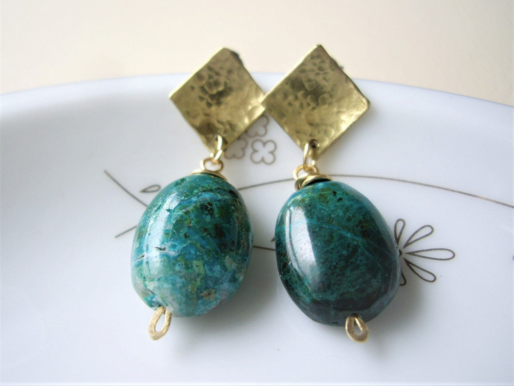 Green Oval Stone Geometric Earrings, Chrysocolla Post Earrings.