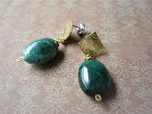 Load image into Gallery viewer, Green Oval Stone Geometric Earrings, Chrysocolla Post Earrings.